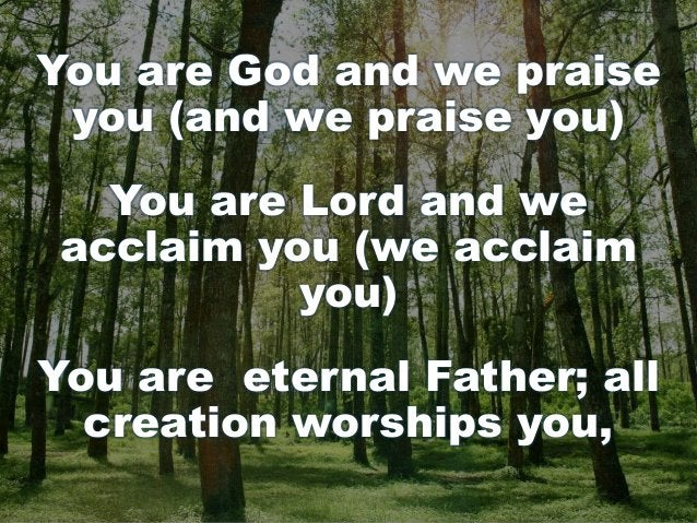 You are God and we praise you (and we praise you) You are Lord and we acclaim you (we acclaim you) You are eternal Father;...