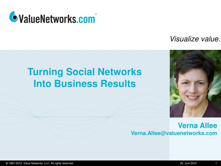 Turning Social NetworksInto Business Results<br />10. Juni 2010<br />1<br />© 1997-2010  Value Networks, LLC  All rights r...