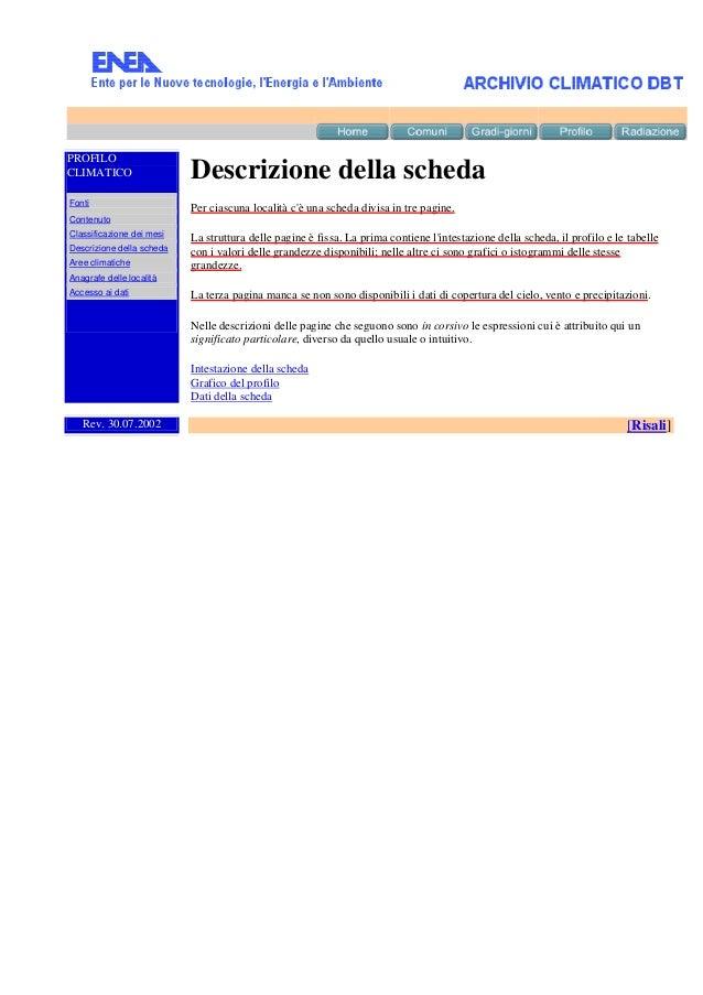 PROFILO CLIMATICO  Descrizione della scheda  Fonti  Per ciascuna località c'è una scheda divisa in tre pagine.  Contenuto ...