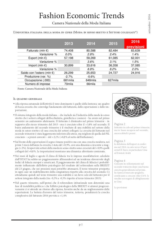p.1 Fashion Economic Trends Camera Nazionale della Moda Italiana L'industria italiana della moda in cifre (Moda in senso s...