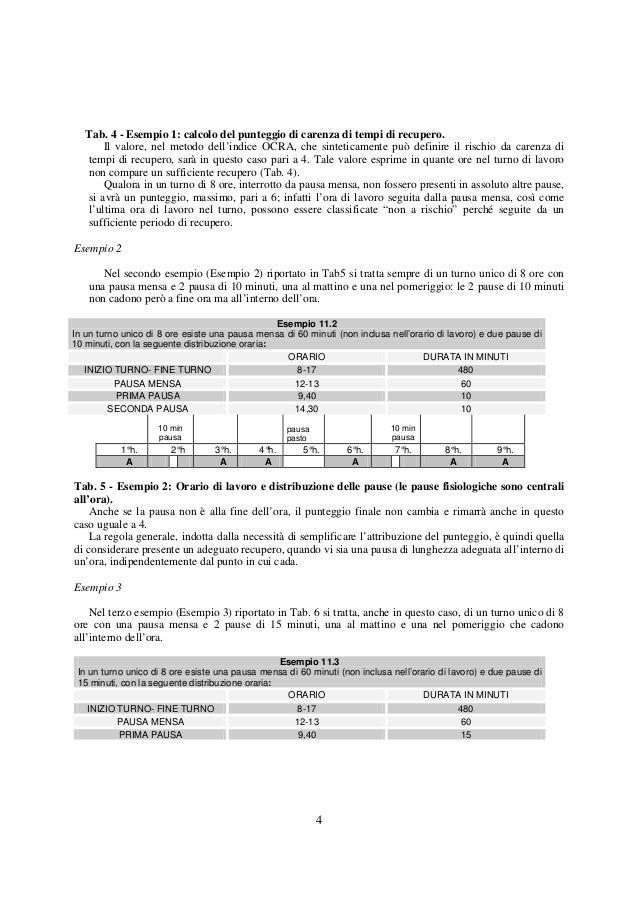 4Tab. 4 - Esempio 1: calcolo del punteggio di carenza di tempi di recupero.Il valore, nel metodo dell'indice OCRA, che sin...