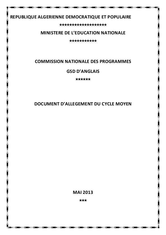 REPUBLIQUE ALGERIENNE DEMOCRATIQUE ET POPULAIRE  MINISTERE DE L'EDUCATION NATIONALE  COMMISS...
