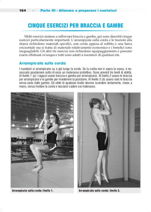 164 - Parte III - Allenare e preparare i nuotatori CINQUE ESERCIZI PER BRACCIA E GAMBE  Molti esercizi aiutano a rafforzar...