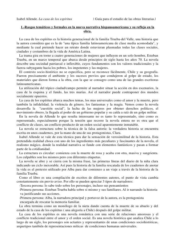 Isabel Allende. La casa de los espíritus                 Guía para el estudio de las obras literarias.      1.-Rasgos temá...