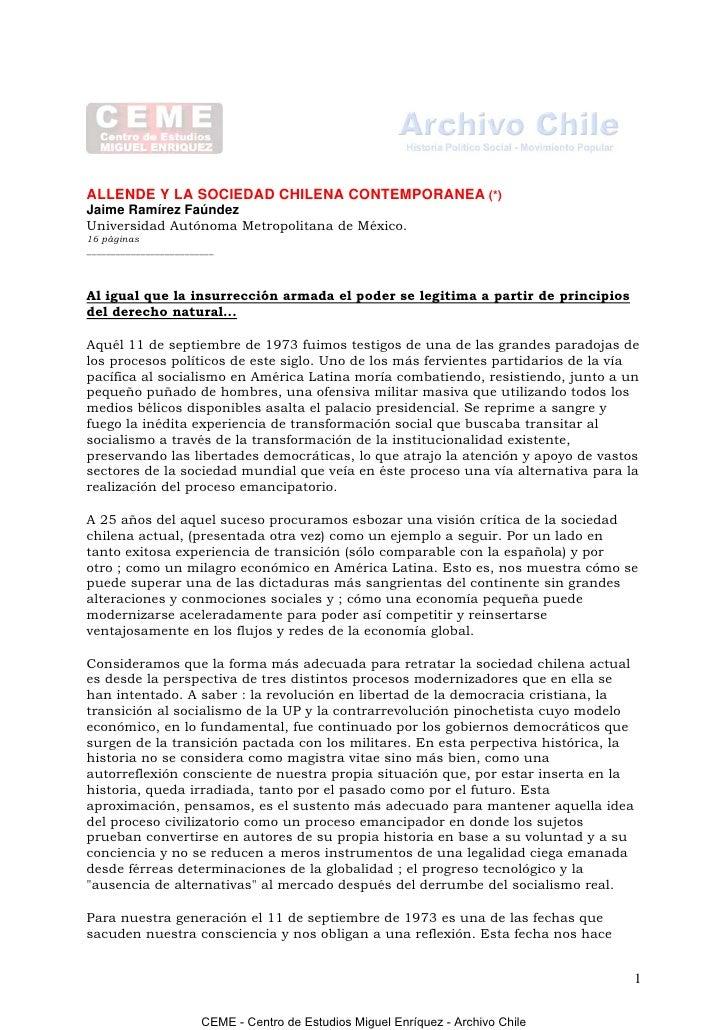 ALLENDE Y LA SOCIEDAD CHILENA CONTEMPORANEA (*)Jaime Ramírez FaúndezUniversidad Autónoma Metropolitana de México.16 página...