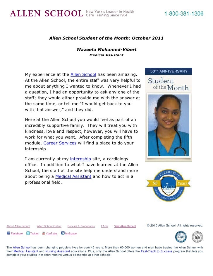 -695325-262890<br />Allen School Student of the Month: October 2011<br />Wazeefa Mohamed-Vibert <br />Medical Assistant<br...