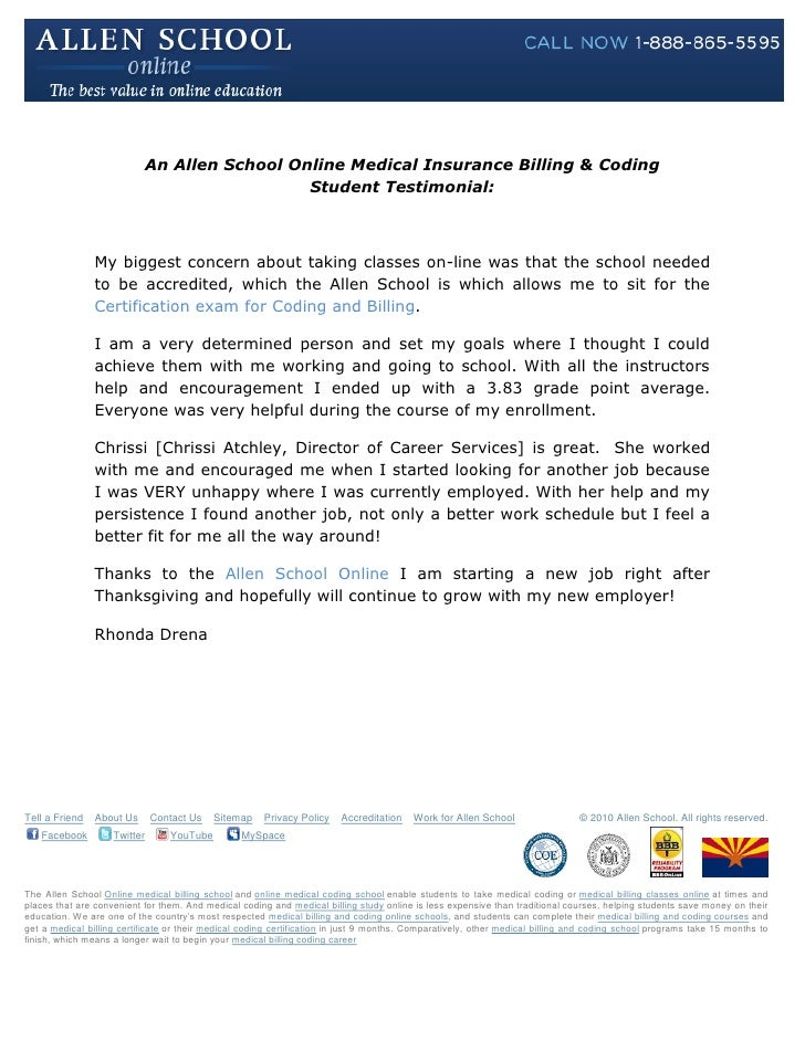 Allen School Online Medical Billing Coding Student Testimonial Rh