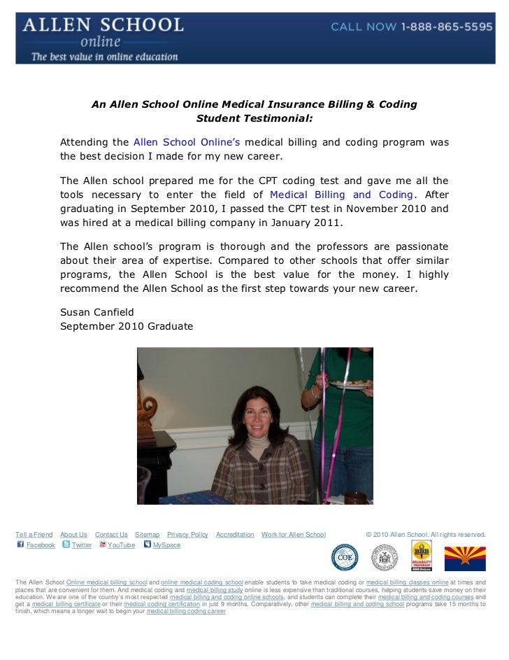 Allen School Online Medical Billing & Coding Student Testimonial: Sus…