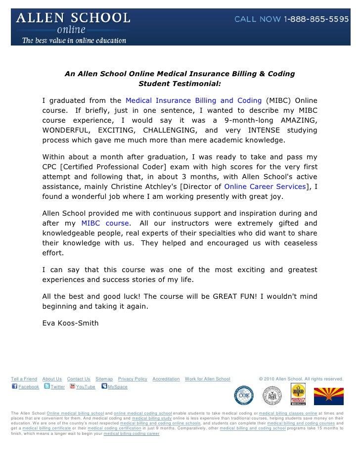 Allen School Online: Medical Billing & Coding Student Testimonial: Eva