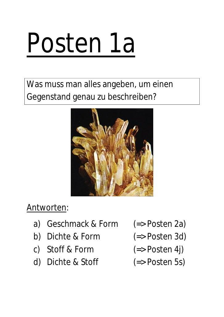 Posten 1a Was muss man alles angeben, um einen Gegenstand genau zu beschreiben?     Antworten:  a)   Geschmack & Form    (...