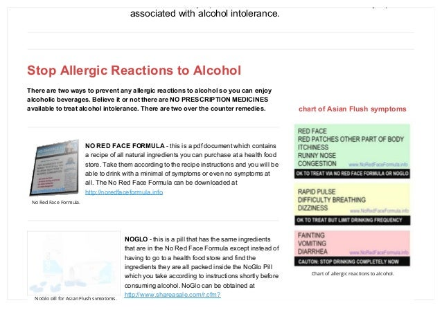 Allergic reactions to alcohol