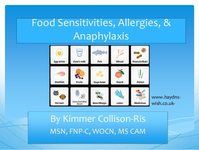 Food Sensitivities, Allergies, & Anaphylaxis By Kimmer Collison-Ris MSN, FNP-C, WOCN, MS CAM www.haydns- wish.co.uk-