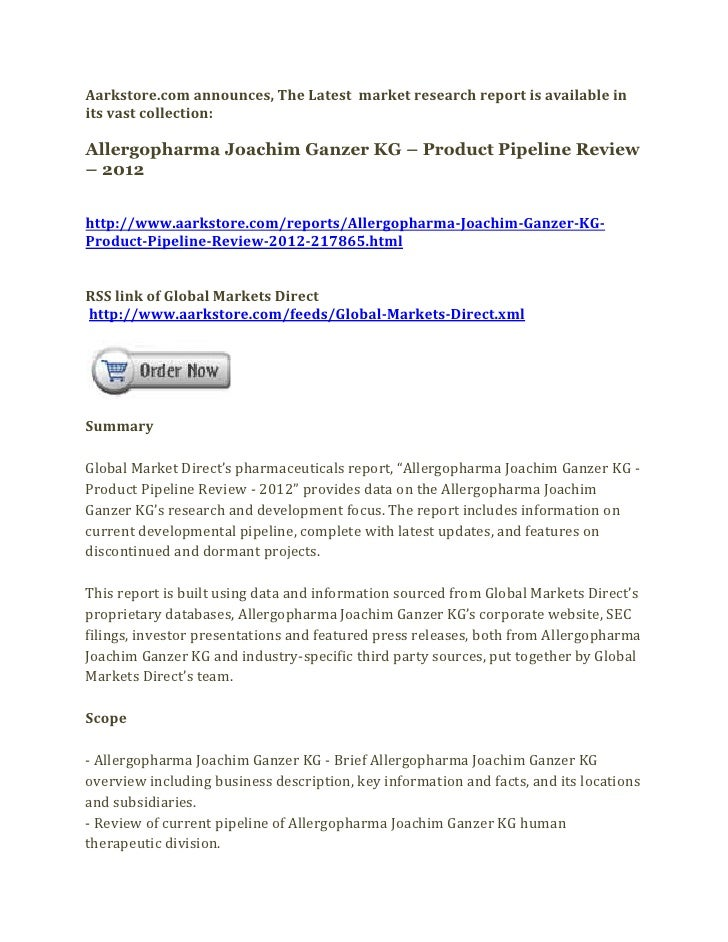 Aarkstore.com announces, The Latest market research report is available inits vast collection:Allergopharma Joachim Ganzer...