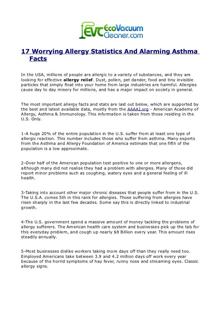 17 Worrying Allergy Statistics And Alarming Asthma  FactsIn the USA, millions of people are allergic to a variety of subst...