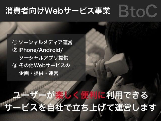 企業のサイトを構築 企業と消費者の「Webコミュニケーションの在り方」を提案 自社サービスを運営 自社サービスを試験場として「Webコミュニケーションのノウハウ」を蓄積