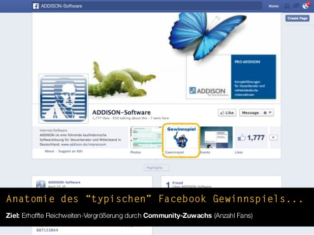 """Anatomie des """"typischen"""" Facebook Gewinnspiels...Ziel: Erhoffte Reichweiten-Vergrößerung durch Community-Zuwachs (Anzahl F..."""