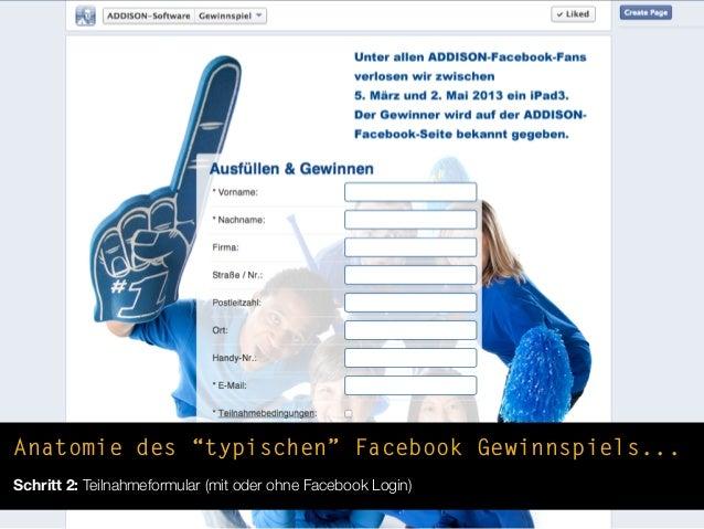 """Anatomie des """"typischen"""" Facebook Gewinnspiels...Schritt 2: Teilnahmeformular (mit oder ohne Facebook Login)"""
