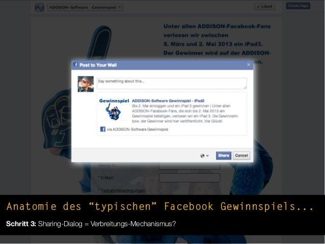 """Anatomie des """"typischen"""" Facebook Gewinnspiels...Schritt 3: Sharing-Dialog = Verbreitungs-Mechanismus?"""