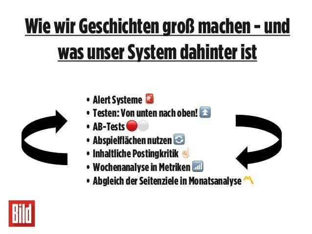Wiewir Geschichtengroß machen - und wasunser Systemdahinter ist • AlertSysteme 🚨 • Testen:Vonuntennachoben!⏫ • AB-Tests 🔴⚪...