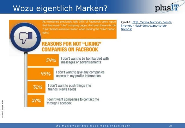 Wozu eigentlich Marken?  © plus-IT Gruppe 2013  Quelle: http://www.text2vip.com/ilike-you-i-just-dont-want-to-befriends/  ...