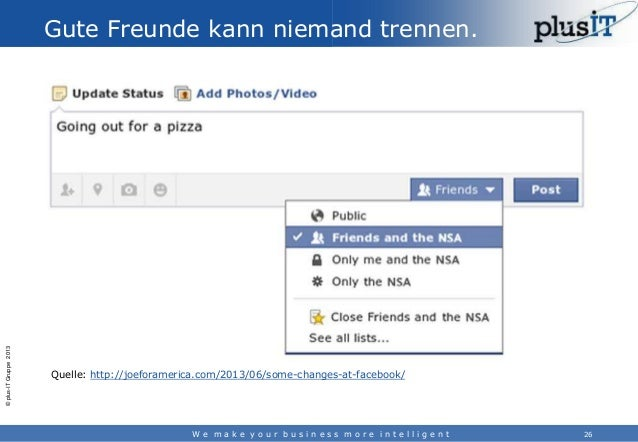 © plus-IT Gruppe 2013  Gute Freunde kann niemand trennen.  Quelle: http://joeforamerica.com/2013/06/some-changes-at-facebo...