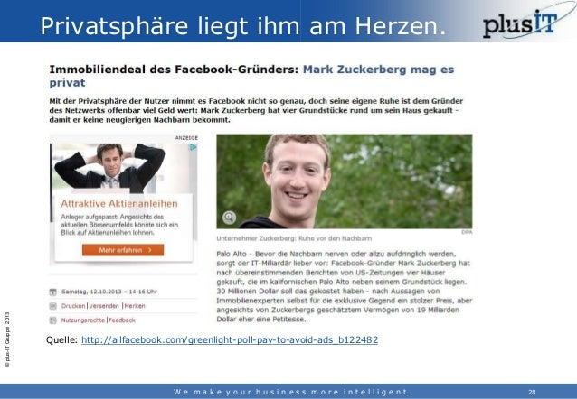 © plus-IT Gruppe 2013  Privatsphäre liegt ihm am Herzen.  Quelle: http://allfacebook.com/greenlight-poll-pay-to-avoid-ads_...