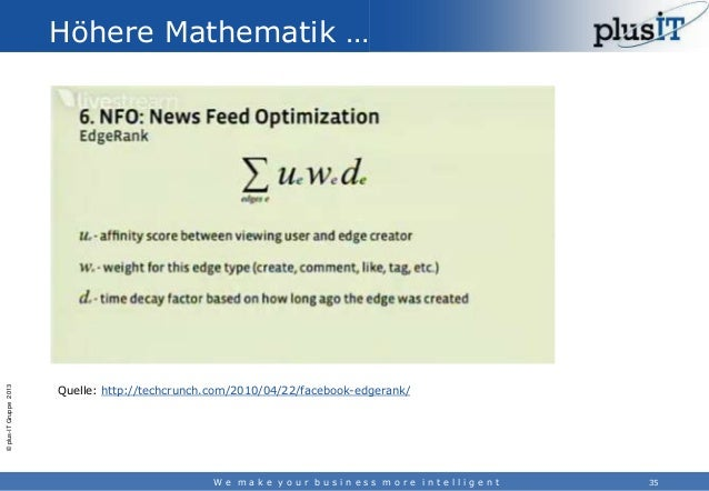 © plus-IT Gruppe 2013  Höhere Mathematik …  Quelle: http://techcrunch.com/2010/04/22/facebook-edgerank/  We make your busi...
