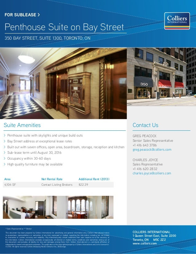 Suite Amenities > Penthouse suite with skylights and unique build outs > Bay Street address at exceptional lease rates > B...