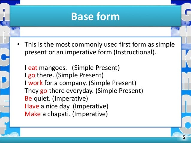 All forms of verbs