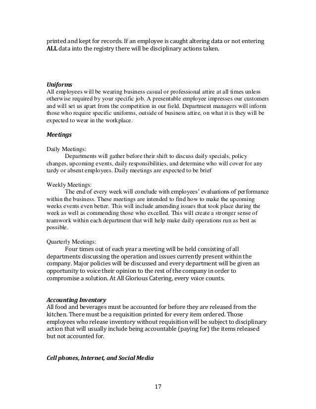 Employee Uniform Form. 12 Employee Handbook Employee Appraisal