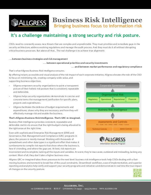 Business Risk Intelligence                                               Bringing business focus to information risk    It...