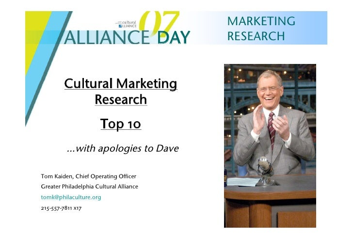 MARKETING                                          DAY   RESEARCH            Cultural Marketing               Research    ...