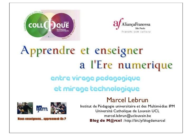 Marcel LebrunInstitut de Pédagogie universitaire et des Multimédias IPM          Université Catholique de Louvain UCL     ...