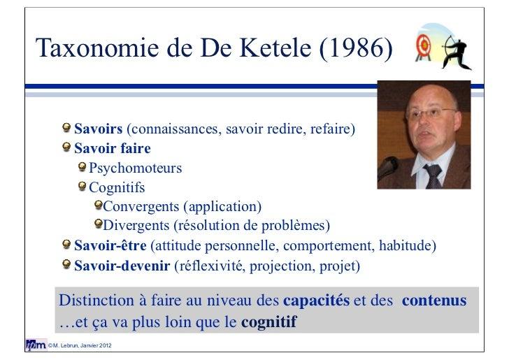 Taxonomie de De Ketele (1986)           Savoirs (connaissances, savoir redire, refaire)           Savoir faire            ...