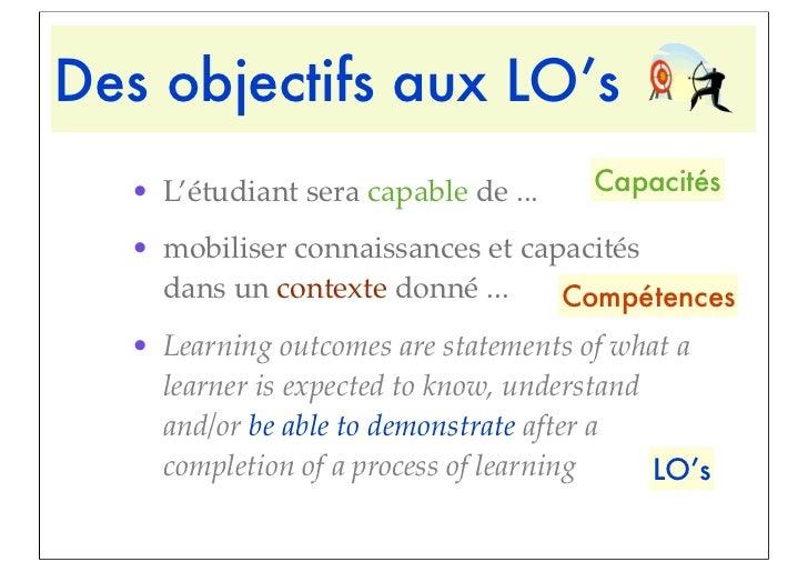 Des objectifs aux LO's  • L'étudiant sera capable de ...    Capacités  • mobiliser connaissances et capacités    dans un c...
