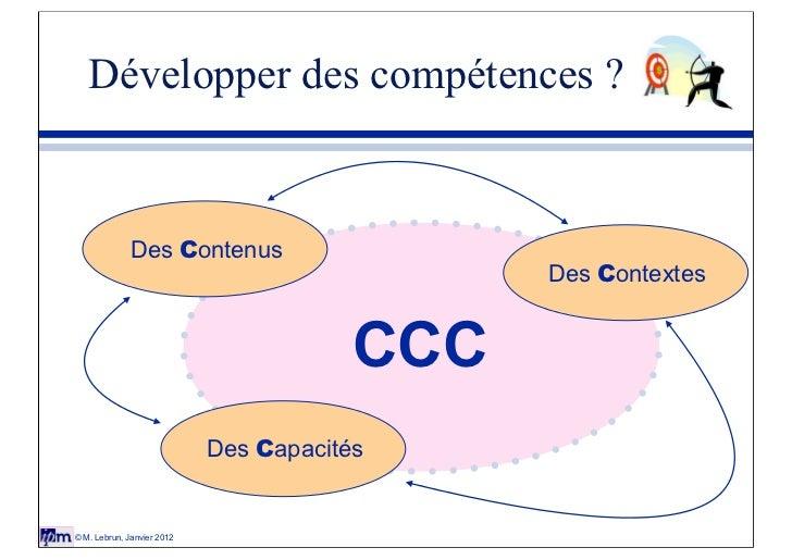 Développer des compétences ?              Des Contenus                                              Des Contextes         ...