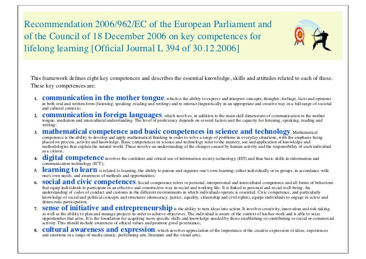 Recommendation 2006/962/EC of the European Parliament andof the Council of 18 December 2006 on key competences forlifelong...
