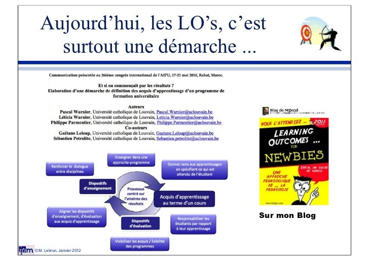 Aujourd'hui, les LO's, c'est    surtout une démarche ...                             Sur mon Blog© M. Lebrun, Janvier 2012