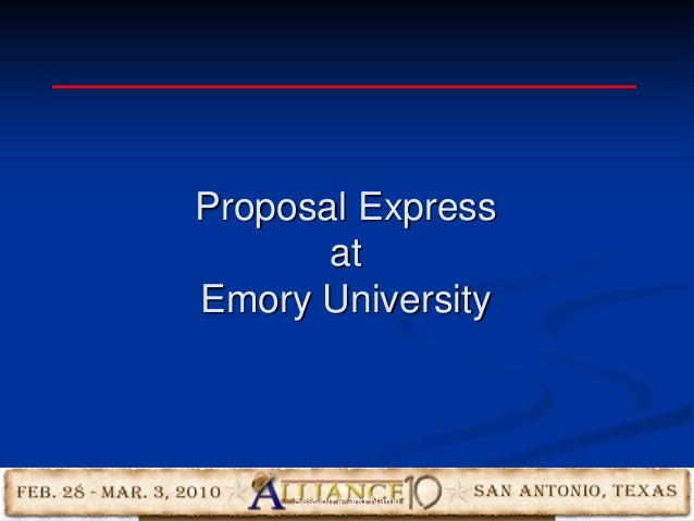 16 Proposal Express at Emory University Session #-and Name