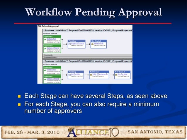 Workflow Pending Approval 29  Each Stage can have several Steps, as seen above  For each Stage, you can also require a m...