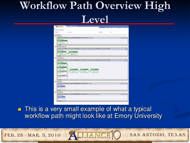 34 Workflow Path Overview High Level  This is a very small example of what a typical workflow path might look like at Emo...