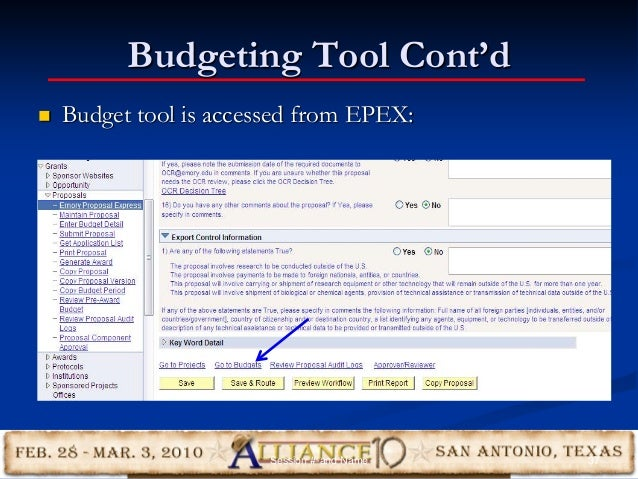 Budgeting Tool Cont'd  Budget tool is accessed from EPEX: 37Session #-and Name