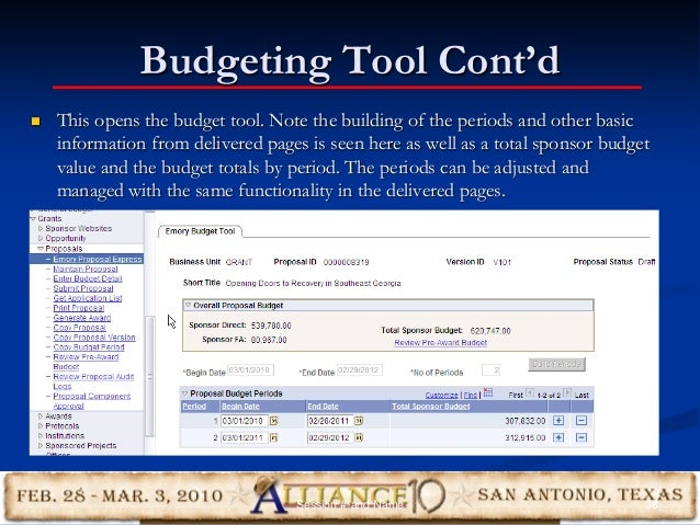 Budgeting Tool Cont'd 38Session #-and Name  This opens the budget tool. Note the building of the periods and other basic ...