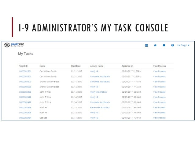 I-9 ADMINISTRATOR'S MY TASK CONSOLE