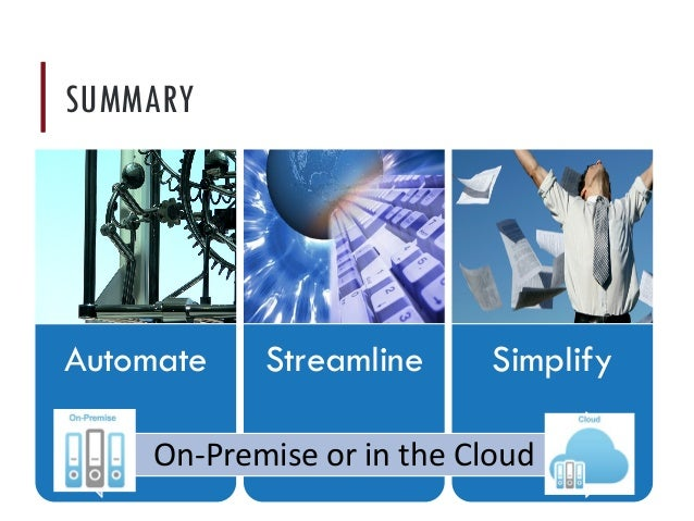 Automate Streamline Simplify On-Premise or in the Cloud SUMMARY