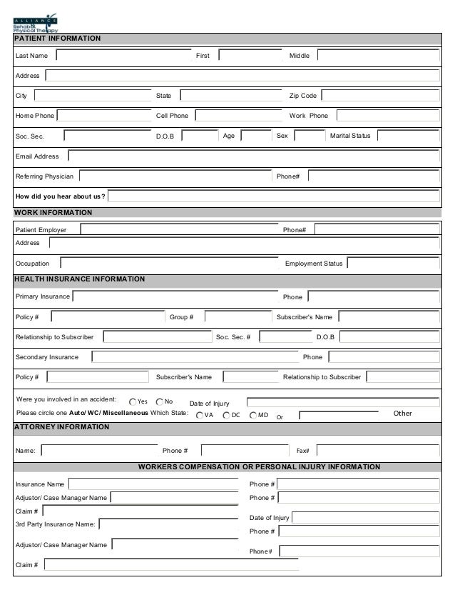 Alliance Rehab & Physical Therapy Patient Registration Form