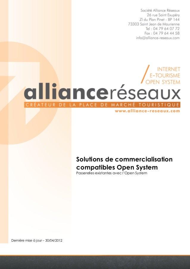 Dernière mise à jour – 30/04/2012  Solutions de commercialisation  compatibles Open System  Passerelles existantes avec l'...