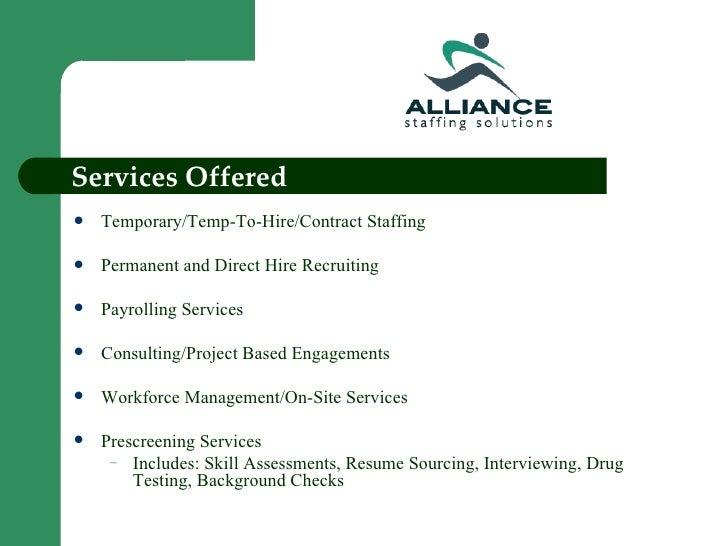 Alliance Staffing Solutions Power Point Presentation