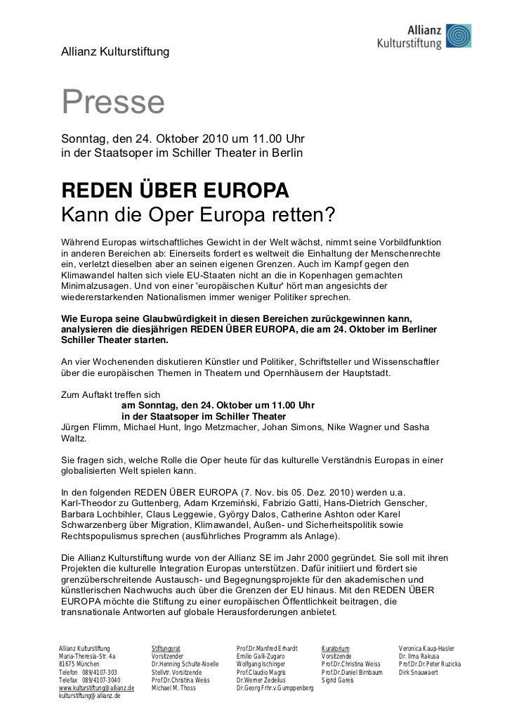 Allianz KulturstiftungPresseSonntag, den 24. Oktober 2010 um 11.00 Uhrin der Staatsoper im Schiller Theater in BerlinREDEN...