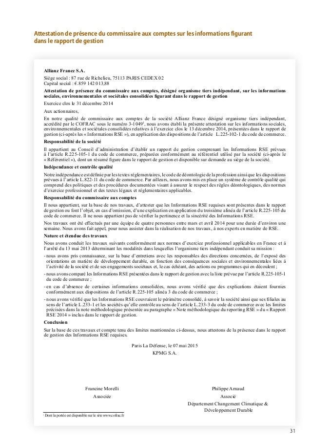 Allianz Rapport De Developpement Durable 2014